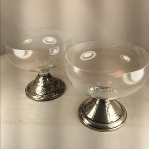 Pair of Vintage Sterling Silver Glass Dessert Cups